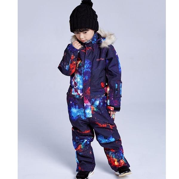 19 лыжных костюмов bluemagic для детей, водонепроницаемый комбинезон для прогулок на открытом воздухе для девочек и мальчиков, куртка для сноуборда Водонепроницаемый Лыжный комбинезон-30 градусов - Цвет: BOY GLX