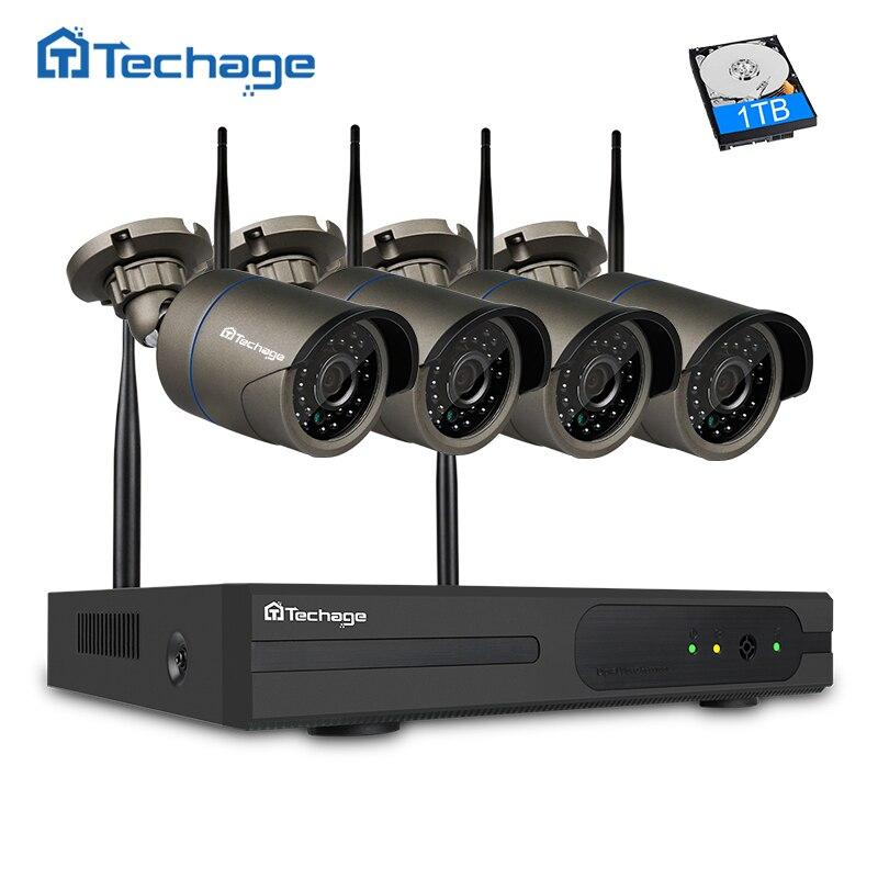 Techage Plug and Play 4CH 1080 P HD Wireless NVR Kit P2P 720 P 1MP Indoor Outdoor IR Night Vision Security Camera CCTV di WIFI sistema