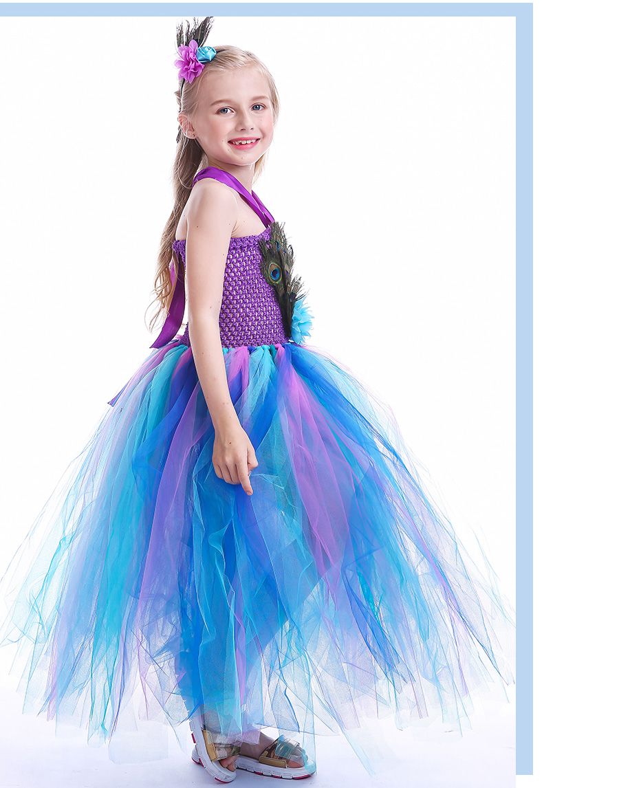 Peacock Feather Girl Tutu Dress Baby Peacock Dress with Hair Accessories  Halloween Pageant Wedding Glam Costume Party Outfit (13)