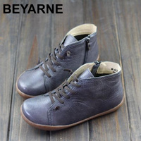 BEYARNE 35 42 Boots Women Shoes Hand Made Genuine Leather Ankle Boots For Women Square Toe