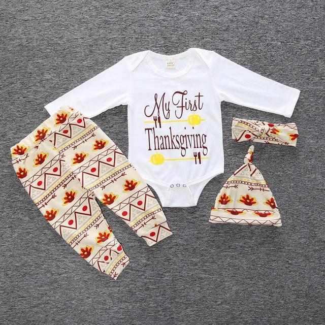 4 unids Otoño bebé muchacho y muchacha de la ropa del bebé de Regalo de Navidad ropa de manga larga Romper + pants + hat + diadema traje