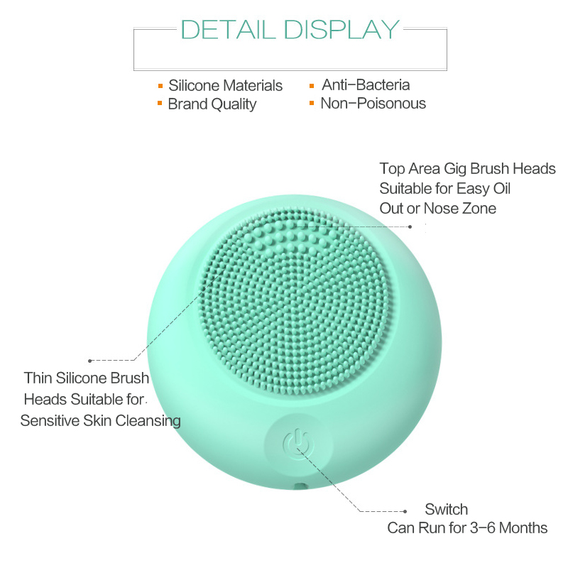 Sonic Facial Cleansing Brush Device Silicone Powered Face Cleaner Portable Pore Dirt Removal Black Head Pimple Skin Oil Control 3