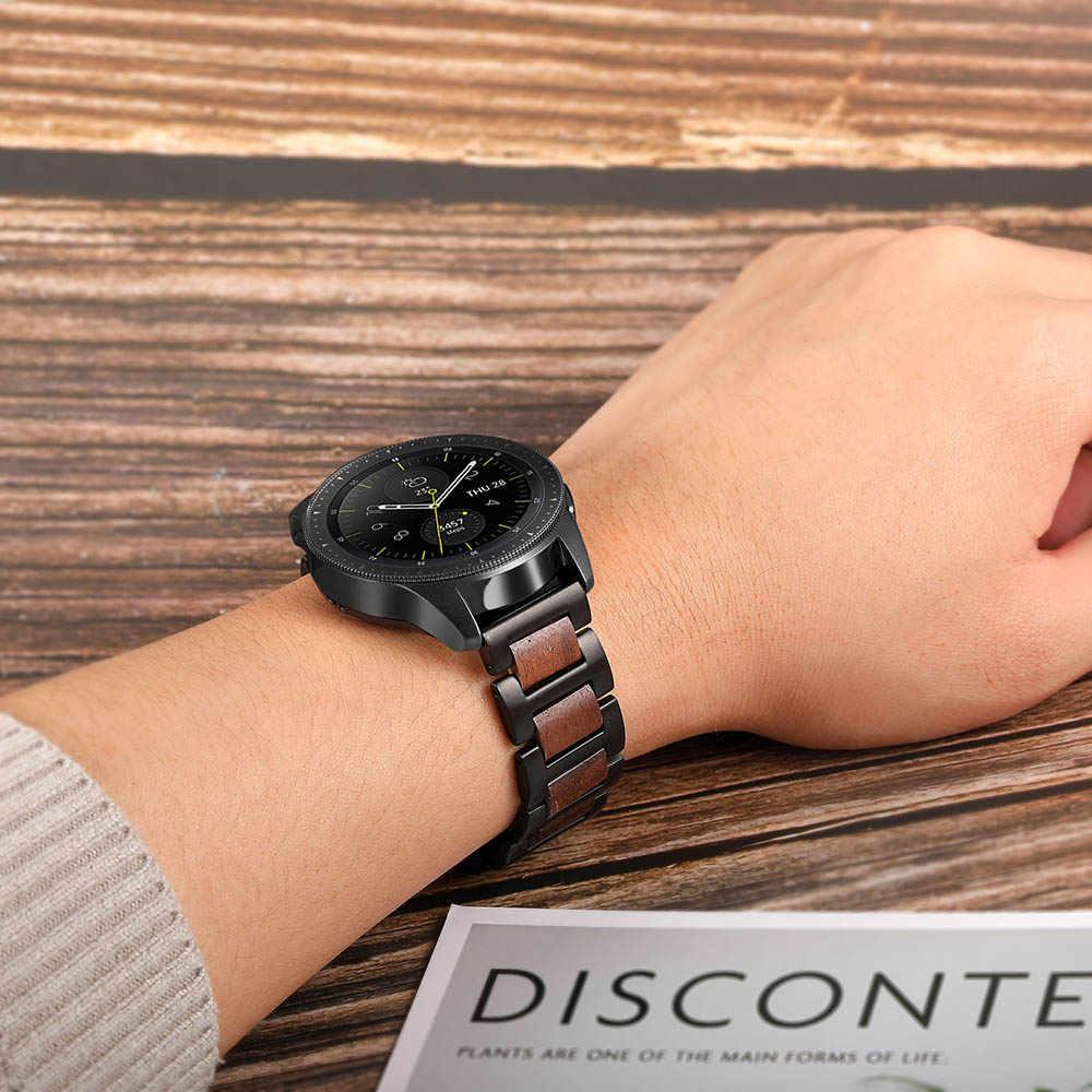 20mm naturalne drewno i Watchband ze stali nierdzewnej do zegarka Huawei 2 (Sport) ticwatch 2/E Amazfit Bip szybkie uwolnienie pasek pasek na nadgarstek