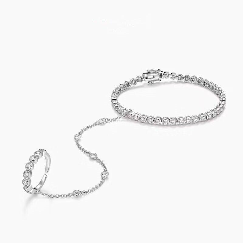 Monaco браслет из стерлингового серебра 925 пробы, соединенное кольцо с фианитом класса ААА, Женский Хрустальный поплавок, Снежная цепочка, браслет, ювелирные изделия