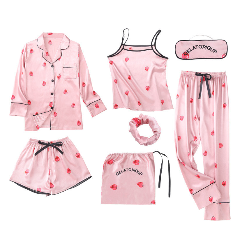 JULY'S SONG 7 Pieces Women   Pajamas     Sets   Stain Faux Silk   Pajamas   Women Sleepwear   Sets   Autumn Winter Tops+Shorts+Shirt+Pants