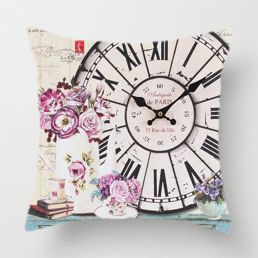 Image 4 - Clock Flower Throw Cushion Pillow Covers 45x45cm Decorative Kitchen Sofa Wedding Home Decoration Accessories Pink Room Decor-in Cushion Cover from Home & Garden