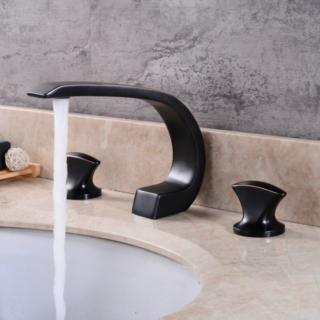 Chrome And Black Bathroom Faucet Deck Mounted Luxury Brushed Nickel Brass  Sink Basin Tap B