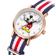 Disney brand Mickey mouse child boys girls wristwatches quartz canvas waterproof boy girl s