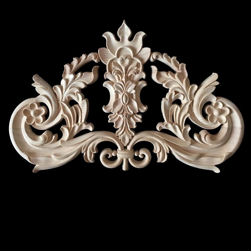 European Wood carving Decal Door Wall Furniture Decoration Oak wood Ornament