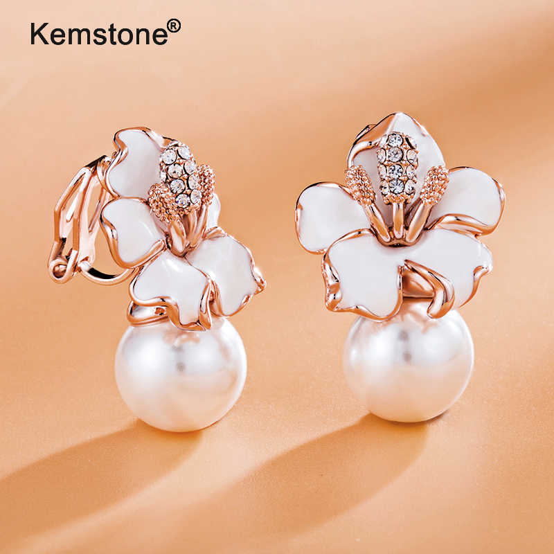 Kemstone Rose Gold/Silver Color Simulated Pearl Cublic Zirconia Flower Clip On Earrings Fashion Women Jewelry Gifts