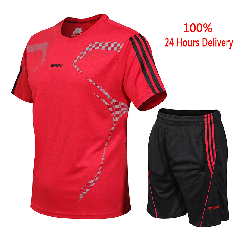 Alion Mens Running Jogger Workout 2PCS Sets Shorts T-Shirt Quick Dry Tracksuits