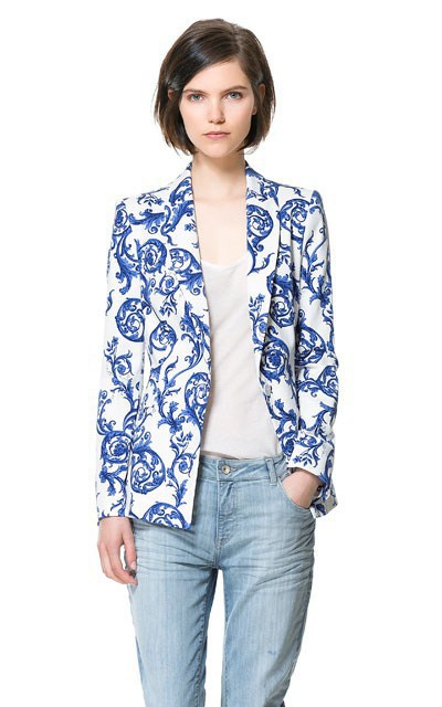 Fashion Blue and white porcelain Print Turn-down Collar Autumn Women coats Jackets Ladies Long Sleeve jaqueta feminina casacos