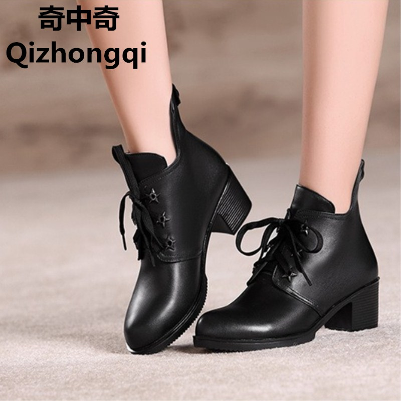 2017 autumn new women's genuine leather shoes, casual Martin boots in Europe and America with big size 35-43 single boots women 2016 new styles of leather and fashion in europe and america