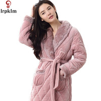 Winter Womens Nightgowns Warm Bathrobe Nightwear Kimono Dressing Gown Sleepwear Soft Bath Robe For Ladies Housecoat SY766