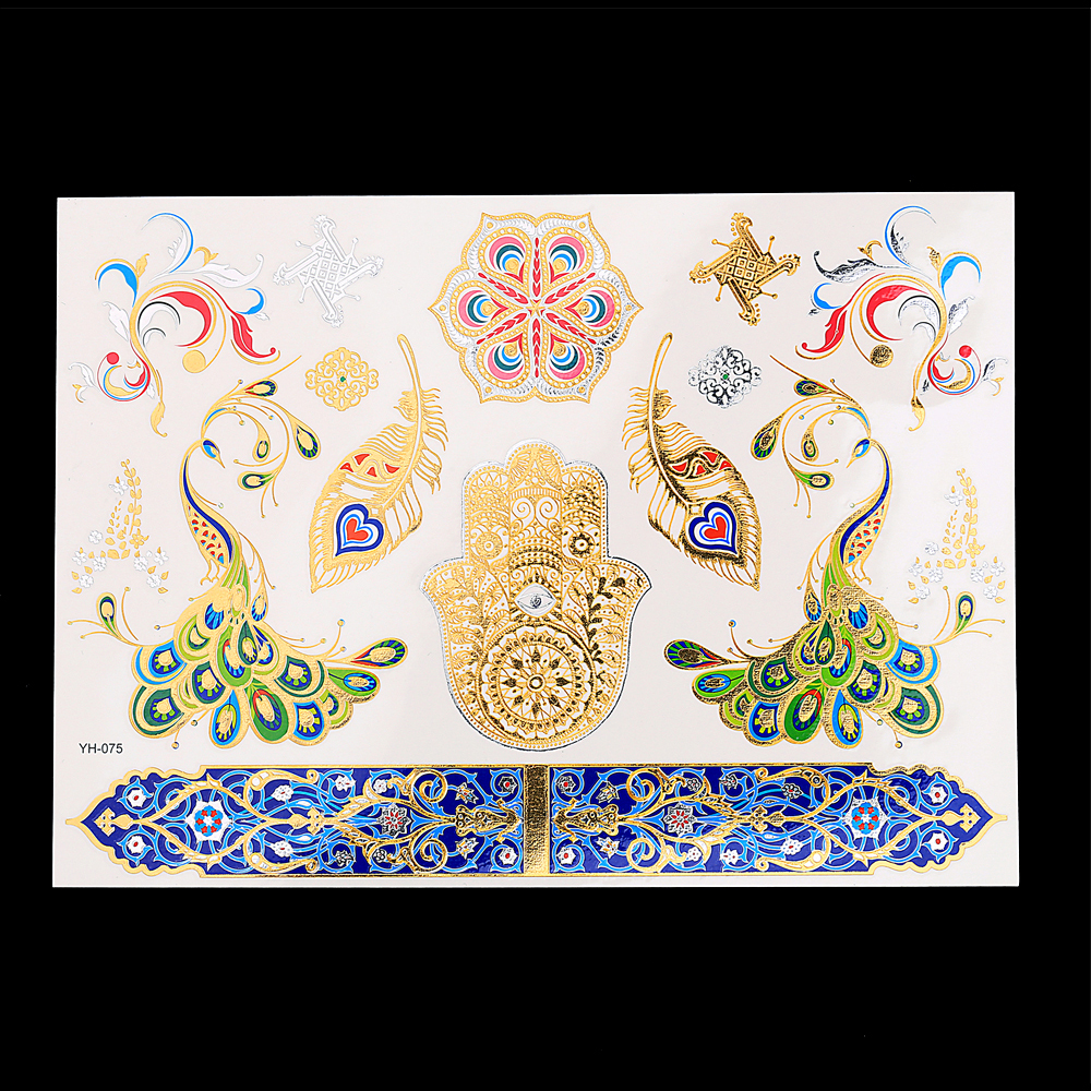 New Design 1PC Temporary Flash Metallic Tattoo Gold Silver Colorful Peacock Feather Palm