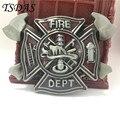 Mens Belt Buckle Fire Dept Firefighters BIG Buckle Metal Fivela Cowboy Interchangeable Men Fashion Belt Buckle Free Shipping