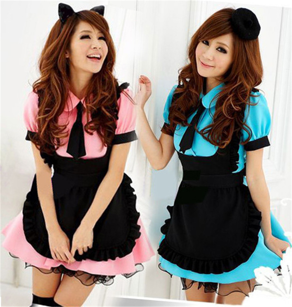 New Sexy Sweet Gothic Lolita Dress French Maid Costume Anime Cosplay Sissy Maid Uniform Plus Halloween Costumes For Women