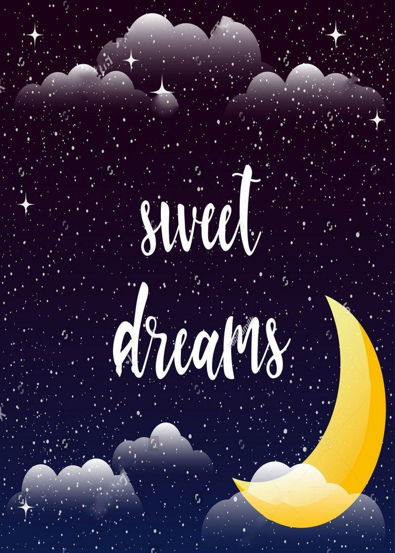 night sky half moon cosmic clouds stars sweet dreams background Vinyl cloth High quality Computer print children kids backdrops