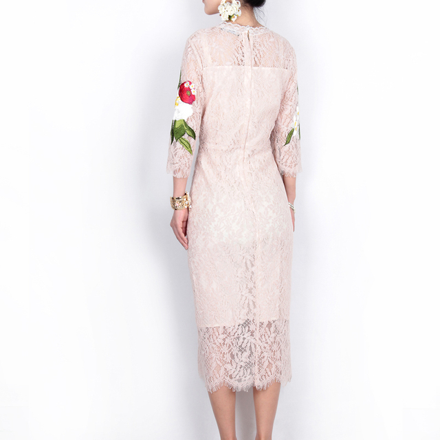 Lace dress floral rose embroidery