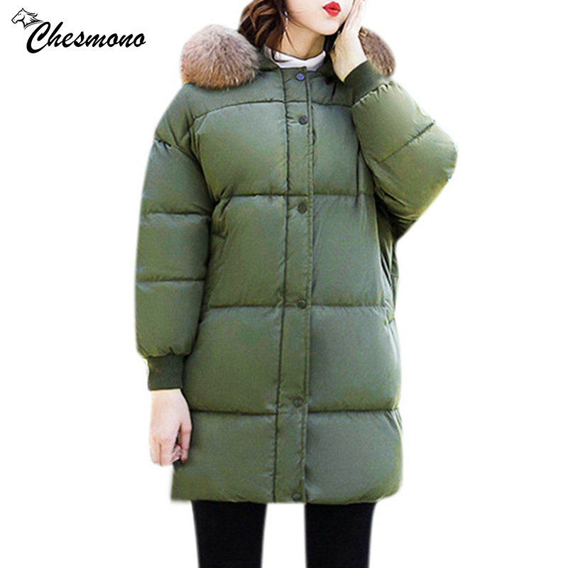 chesmono New 2017 Winter Jacket Women Cotton Coat Fur Collar Hood Parka Female Long Jackets Thick Warm Outerwear chaqueta mujer maxi coats thicken winter jacket women 2017 fur collar over knee long winter jacket parka warm cotton coat chaqueta mujer c2601