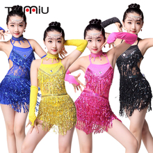High Quality Girls Latin Dance Dress Summer Sleeveless Stage Dance Wear Dress Children Cha Cha Samba Competition Dancewear Dress