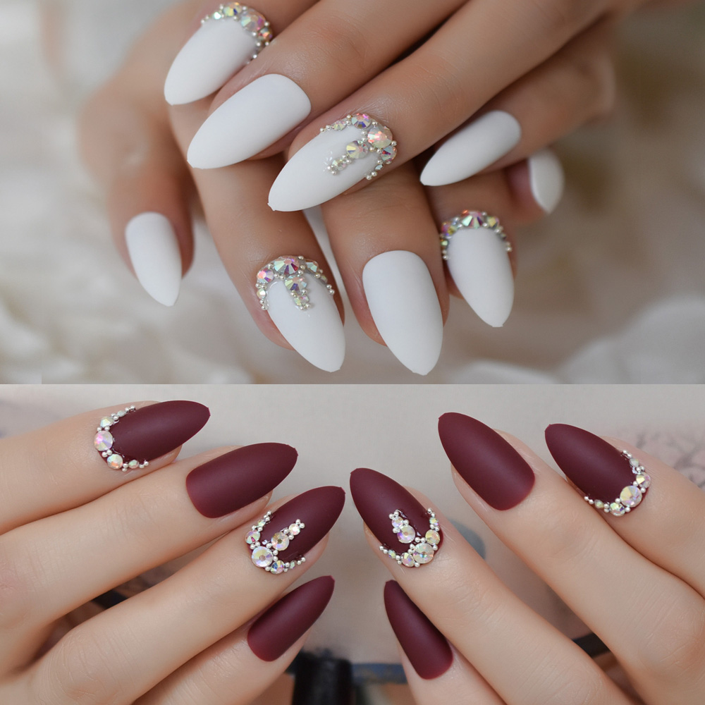 Detail Feedback Questions about 3D Frosted Burgundy Matte Stiletto False Nails White 24pcs Amlond Sharp Fake Nails AB Gems Finished Pre Design Full Nail ...