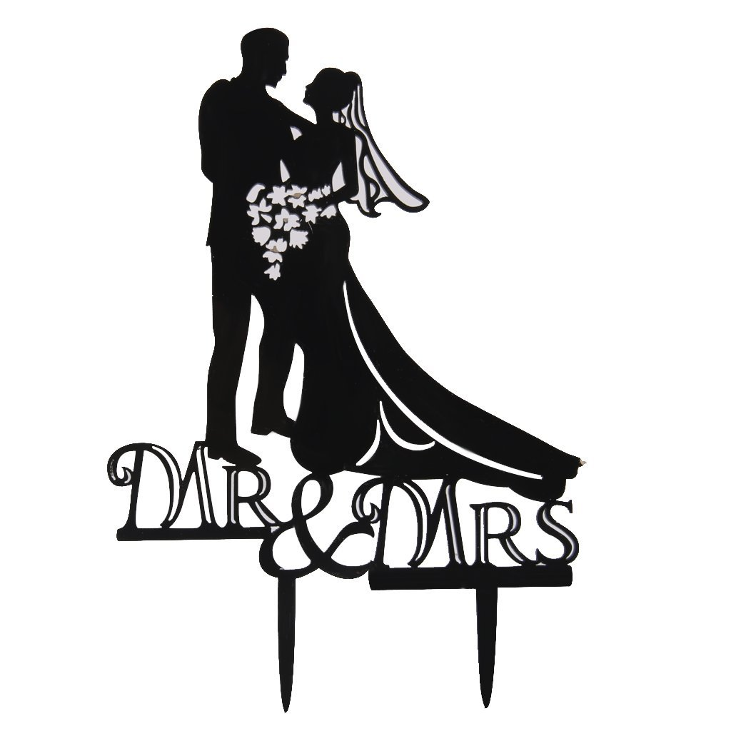 Silhouette Wedding Cake Topper Bride And Groom/MR & Mrs