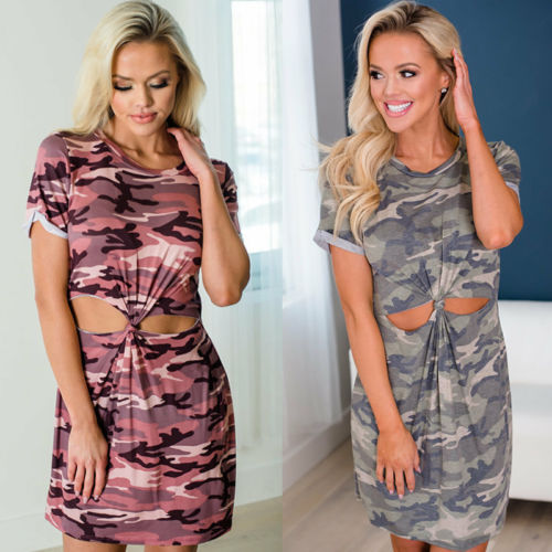 fdc7f0f07d6b2 Casual Womens Short Sleeve Camo Summer Mini Dress Army Print Bodycon Tops