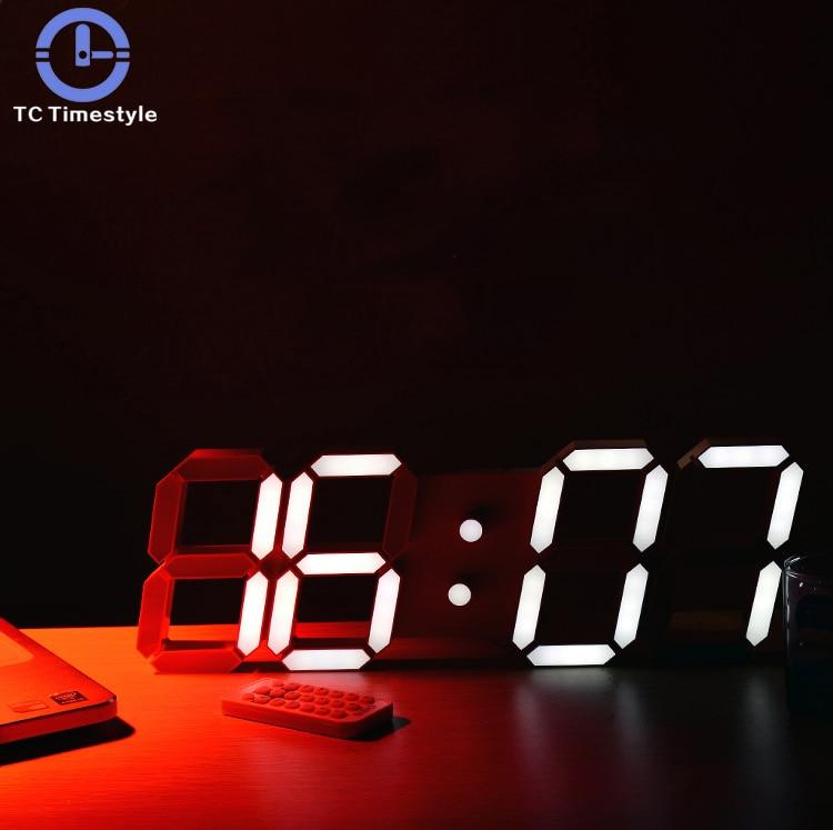 Creative Large Size 3D LED Desk Digital Electronic Alarm Clock Living Room Clock Temperature Display Automatic Light Sensor