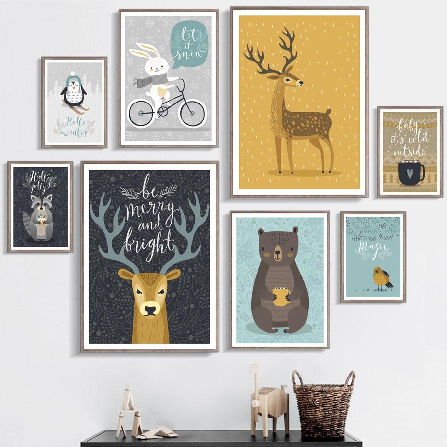 Elk Raccoon Bear Rabbit Deer Bird Nordic Posters And Prints Wall Art Canvas Painting Nursery Pictures Baby Kids Room Decor
