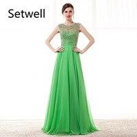 Setwell Сексуальные вечерние платья с низким вырезом на спине Illusion шифоновое длинное вечернее платье Высокое качество Кристалл платье для вып