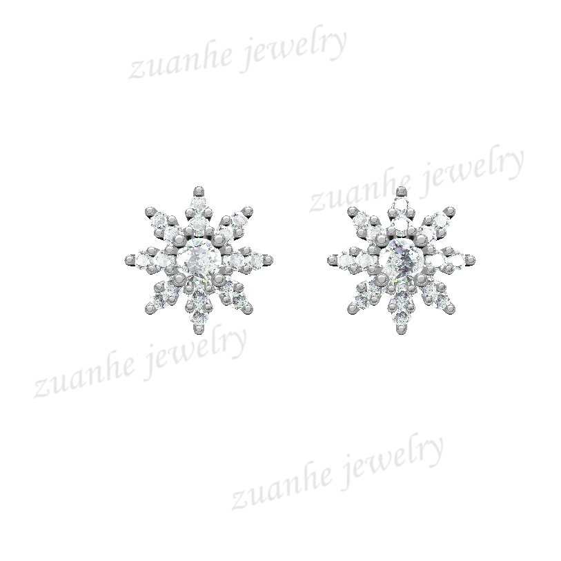 0.28 CT Natural Diamonds Earrings Solid 14k White Gold Snow Shape Charm Jewelry 0 28 ct natural diamonds earrings solid 14k white gold snow shape charm jewelry