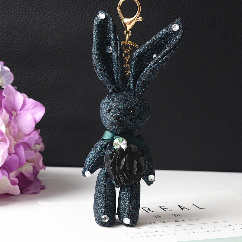 Felyskep New Style Fluffy Keychain Mini Rabbit Key Chain Cloth Keyring For Women Bag Charm Car Pendant  Key Ring 268WA