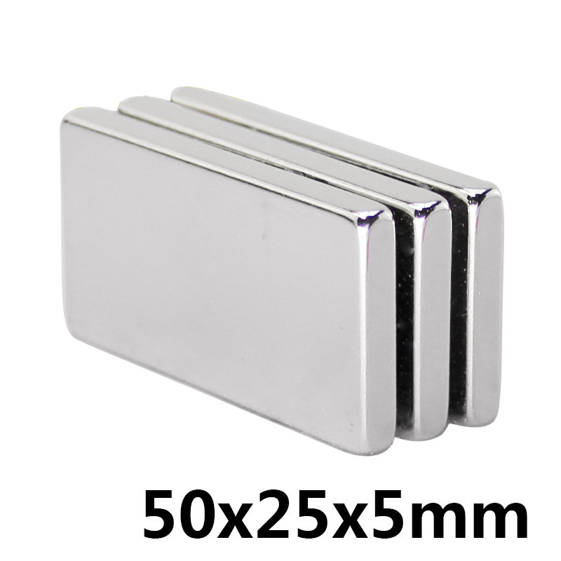 1pcs Block Powerful Neodymium Magnet Super Strong Rare Earth Permanet Magnet,NdFeB magnet 50*25*5mm, 50mm x 25mm x 5mm magnets image