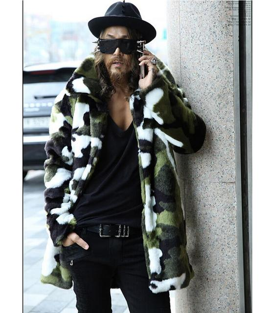 S-3XL NEW Men autumn and winter simulation fur coat camouflage thicken warm long coat trench singer stage costumes clothing