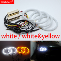 for Fiat PUNTO mk2 1999 2010 White & yellow Cotton LED Angel eyes kit halo ring Turn signal light