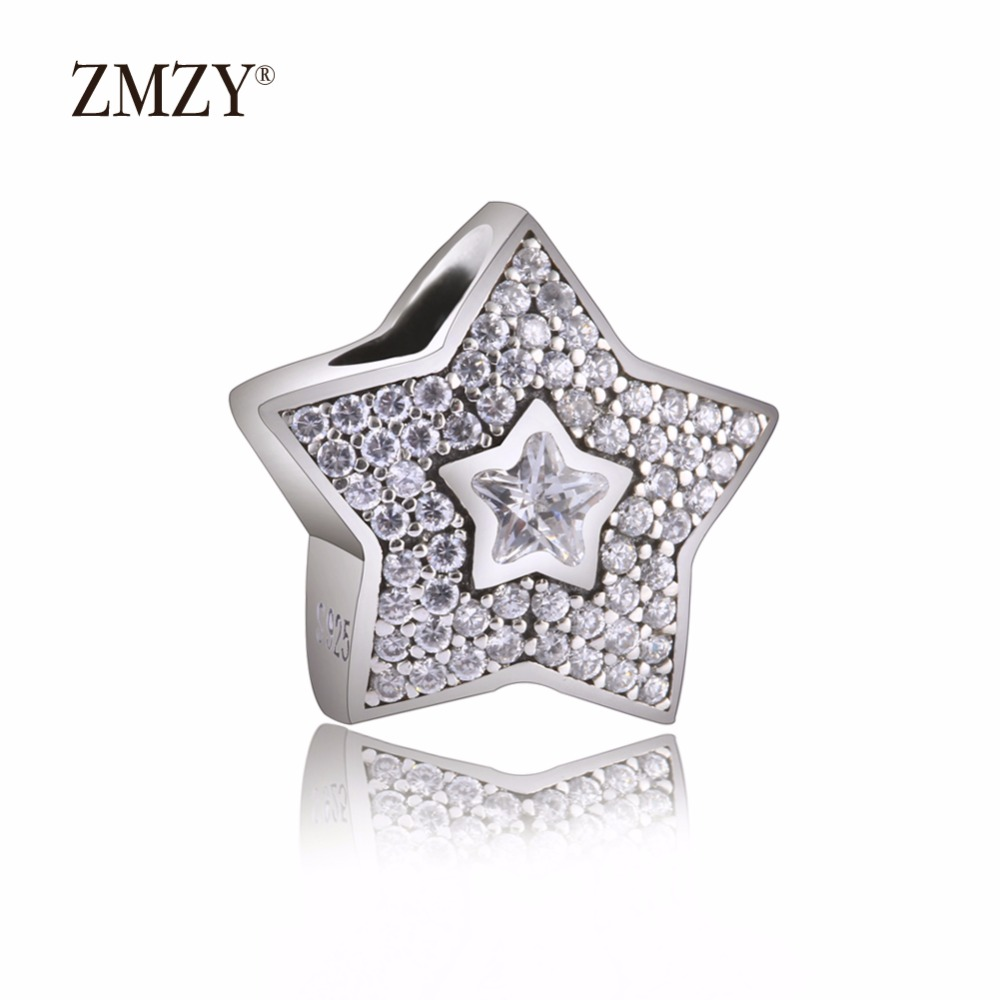 ZMZY Original 925 Sterling Silver Charm Wish Star Pave Clear Cubic Zirconia Beads For Pandora Charms Bracelets Accessories
