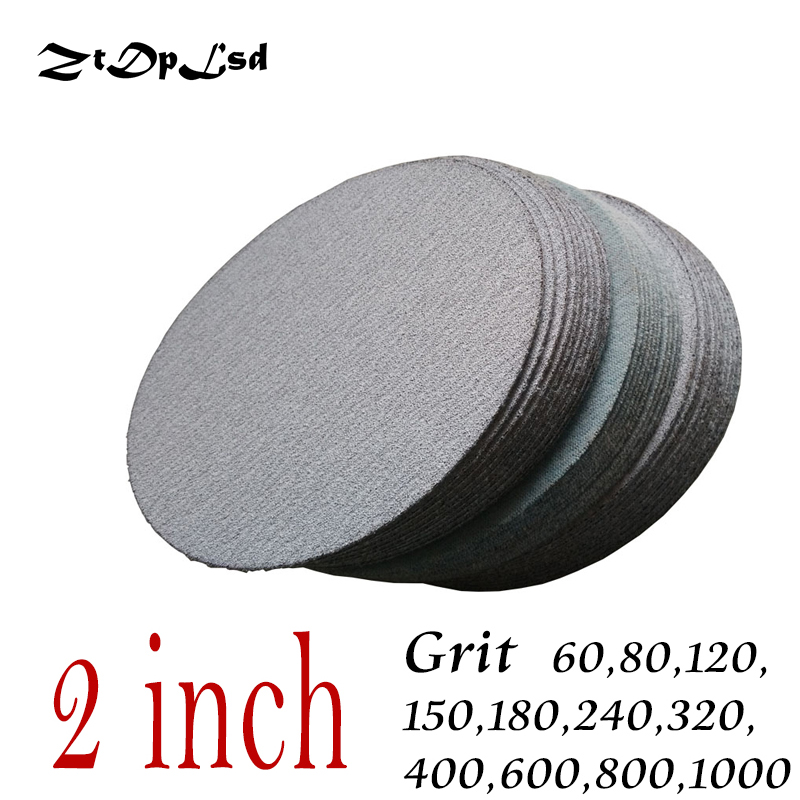 ZtDpLsd 30 Pc/lot 50MM 2 Inches Dry Grinding Abrasive Paper Flocking Sandpaper Pad Sanding Disc Woodworking Electric Grinder
