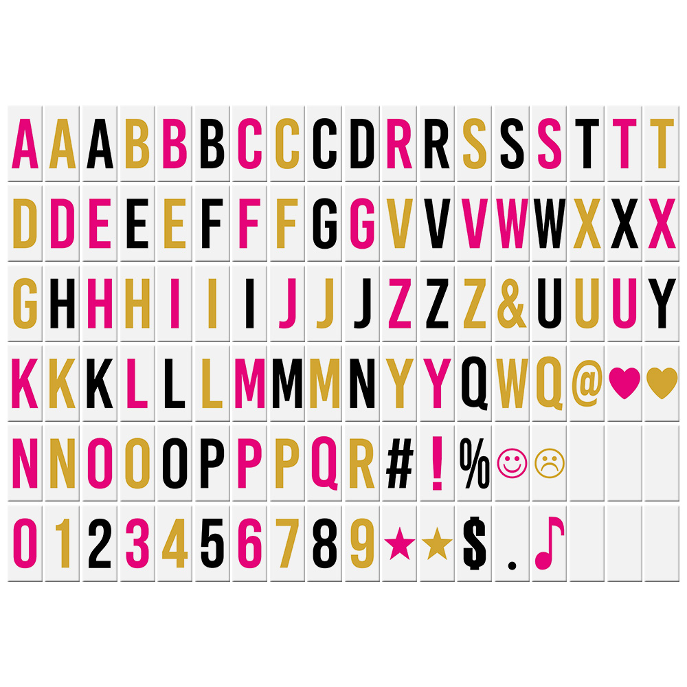 102pcs Colorful Interchangeable Letters Numbers Symbols Characters