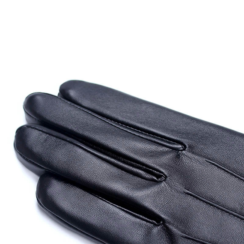 Fashion Autumn Winter Men Outdoor Gloves PU Leather Thin Touches Screen Keep Warm Police Search Driver Man Full Finger Glove HSJ
