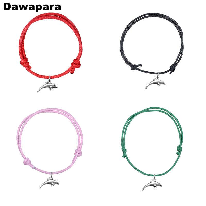 Dawapara טרנדי בעלי החיים דולפין מזל תליון קוריאני שעוות כבל שרשרת צמיד בעבודת יד מתכוונן צמיד תכשיטים עבור מתנה