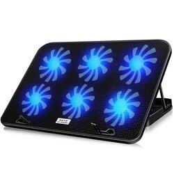 Охлаждающая подставка для ноутбука со светодиодной подсветкой 14-15,6 дюймов 6 охлаждающих вентиляторов основание Кронштейн пластина бесшумн...