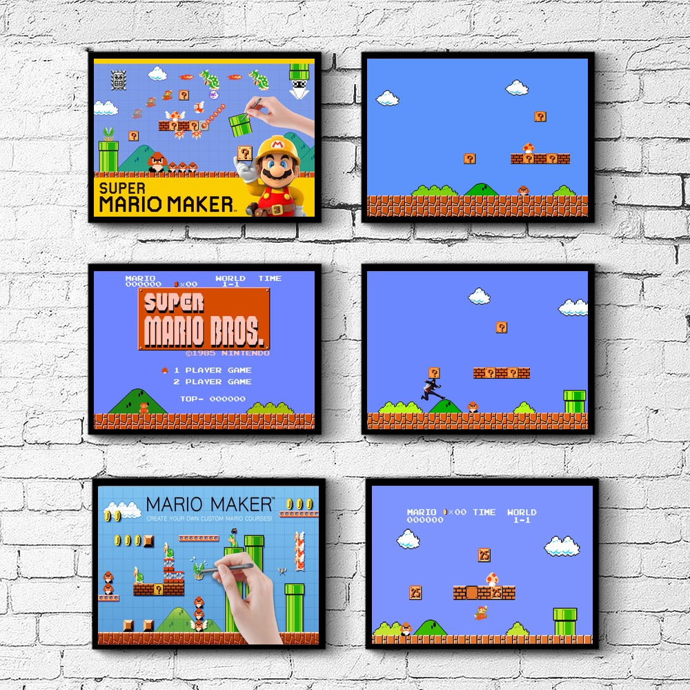 Super Mario Game Wall Decor Silk Prints Art Poster Paintings for Living Room No Frame