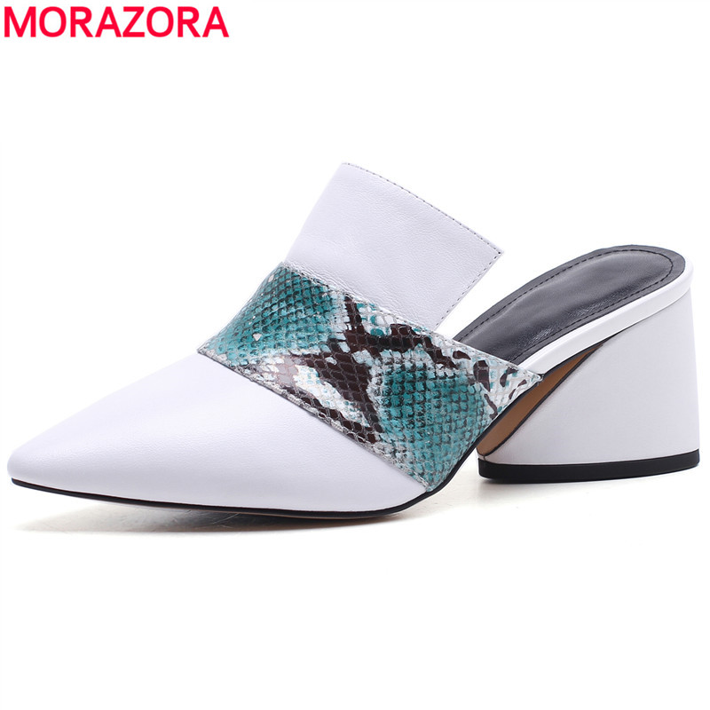 MORAZORA 2019 New arrival genuine leather shoes women pumps pointed toe thick high heels 6cm womens mules fashion ladies shoesMORAZORA 2019 New arrival genuine leather shoes women pumps pointed toe thick high heels 6cm womens mules fashion ladies shoes