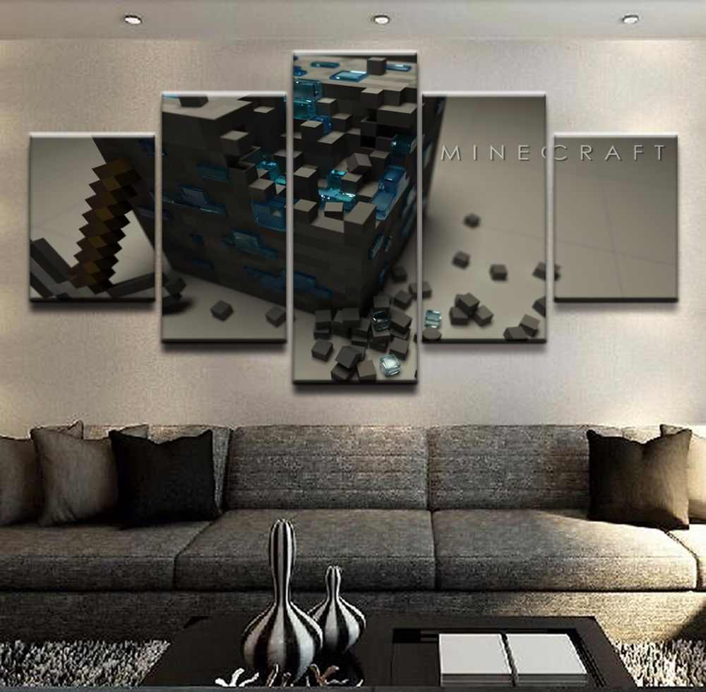 Modular Canvas Printed Poster 5 Panel Minecraft Square Model Game Painting Wall Art Home Frame Decor Wall Artwork Picture Decor