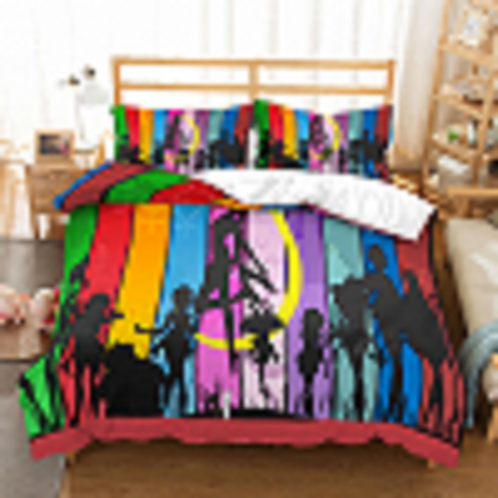 Naruto Moon Bed Linen Set Rainbow Strip Pattern Bedding Set Cartoon Anime Theme Dvet Cover Set 3PCS With 2 Pillowcase Bedclothes