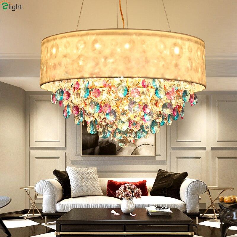 US $581.94 40% OFF|Modern Lustre Colorful Crystal Led Pendant Lights Dining  Room Gold Metal Led Pendant Lamp Living Room Led Hanging Light Fixtures-in  ...