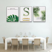 Laeacco Canvas Calligraphy Painting Tropical Green Leaves Wall Artwork Posters and Prints Pictures for Living Room Home Decor adn 63 20 i p a adn 63 25 i p a adn 63 30 i p a compact cylinders pneumatic components adn series