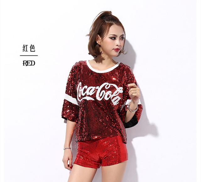 New feminino sexy boate ds trajes jazz desgaste da dança tops cantor realize camiseta hop clothing lantejoulas topos
