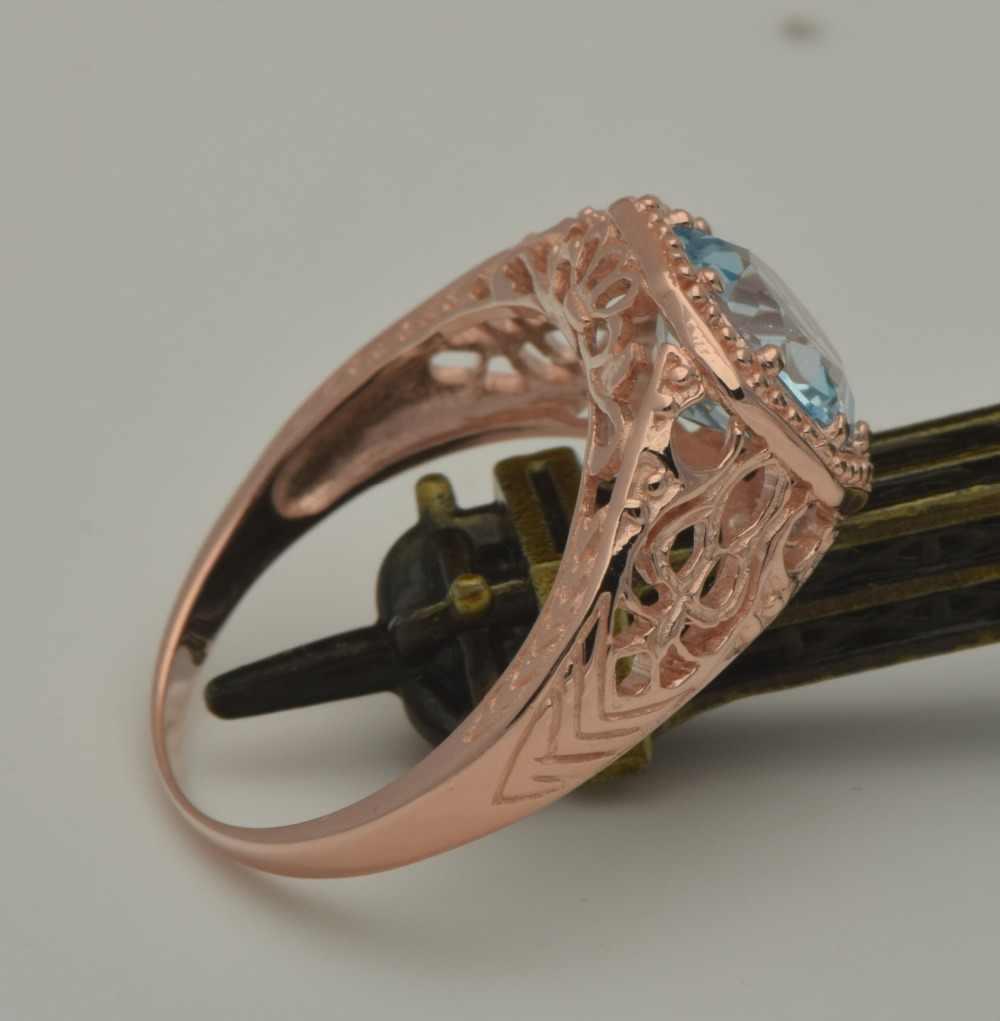 Moda de szjinao Boutique venta al por mayor personalizada estilo Victoria Natural Rosa cielo azul cristal 925 anillos de plata al por mayor